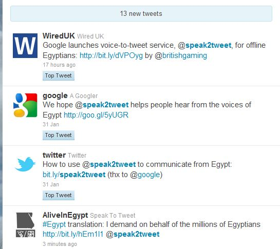 Google e Twitter for #Egypt